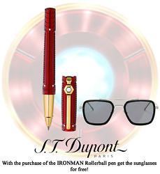 S.t. Dupont Iron Man Tony Stark Red St412706 Ink Color Black Rollerball Pen.