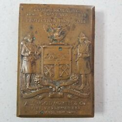 1864 - 1914 Bronze Relief Plaque A. J. Woodworth Fire Underwriters Syracuse Ny