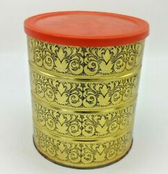 Vintage Folgers Coffee Tin Can With Lid 7'' Retro Gold And Black Holiday Design 2