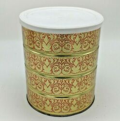 Vintage Folgers Coffee Tin Can With Lid 7'' Retro Gold And Red Holiday Design