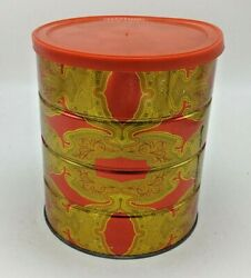 Vintage Folgers Coffee Tin Can With Lid 7'' Retro Red And Gold Paisley Design