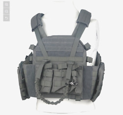 Lqarmy Plate Carrier Tactical Vest Military Molle Gear W/maga Pouches Gray