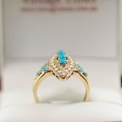 Lovely Turquoise And Pearl Dress Ring With Eleven Turquoise Cabochons And Twe...