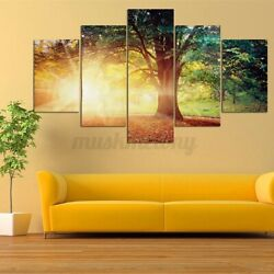 5PCS Set Sunlight Tree Modern Canvas Oil Painting Wall Home Picture Pri A