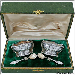 French Sterling Silver 18k Gold Salt Cellars Pair Box Musical Instrument