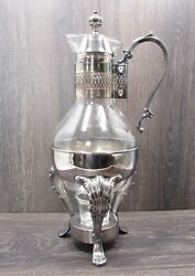 Vtg I S Co. Silver Plate And Glass Coffee/tea Carafe Pitcher W Footed Warmer Stand