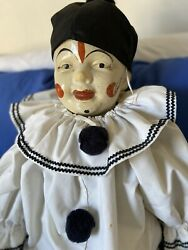 Large Antique Composition And Cloth Clown Doll Straw Like Filled