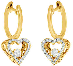 0.5 Ct White Natural Diamond Heart-shaped Drop Earrings In 10k Yellow Gold