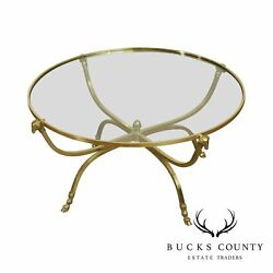 Directoire Style Vintage Brass, Round Glass Top Rams Head Hoof Foot Coffee Table
