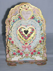 Vintage Valentineand039s Day Card Victorian Die Cut Stand Up Fold Out Hallmark Mother