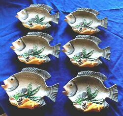 6 Canapé Plates Fish Market Fish Shaped, Shells, Discontinued 1998 Fitz And Floyd