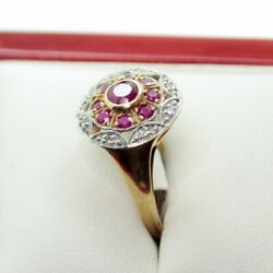 Reproduction Art Deco Stunning Two Tone Ruby And Diamond Gold Ring