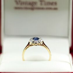 Art Deco, 2 Tone Gold And Blue Sapphire Daisy Ring Surrounded By 12 Old Cut D...