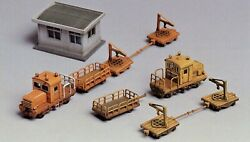N Scale Greenmax 2151 Track Maintenance Car Set With Depot.