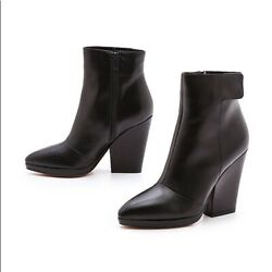 550 Vince Luisa Louisa Black Leather Ankle Boots Booties Heels Size 8 39 Womens