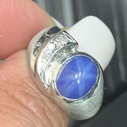 Natural Star Sapphire And Diamond Cabochon Signet Ring In 14k White Gold Sz 7.5