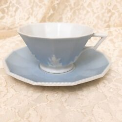 Nymphenburg Perl Blue Teacup And Saucer 3 Mint