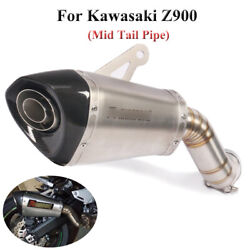 Slip On For Kawasaki Z900 Motorcycle Exhaust System Mid Tail Pipe With Silencer