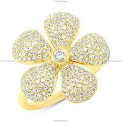 0.65 Ct Natural Diamond Flower Band Engagement Ring For Girls 14k Yellow Gold