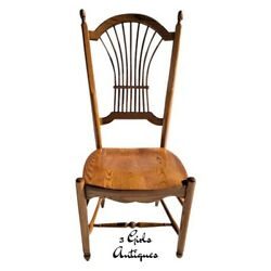 Nichols And Stone Solid Oak Wheat / Sheaf Back Dining Side Chair