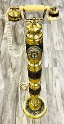 Rare Vintage Unusual Gold Plated Standup Rotary Dial Telephone 42 Inches Tall