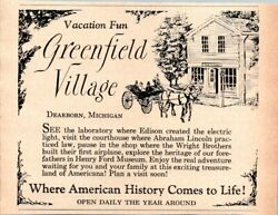 1964 Greenfield Village Dearborn Michigan Mini Vintage Print Ad