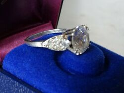 Antique Victorian Sterling Silver Statement Ring W/ Clear Stones//size 8.25