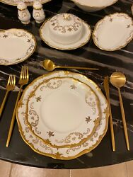 Vintage Reichenbach White Porcelain With 22k Gold Roses China Set