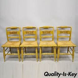 L. Hitchcock Yellow Stenciled Rush Seat Dining Side Chairs - Set Of 4