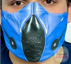 Deluxe Subzero Sub Zero Blue Style Face Mask Double Layer Mk Mortal Kombat