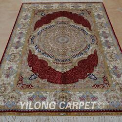 Yilong 4'x6' Handknotted Silk Rug Indoor Furniture Home Interior Carpet 0103