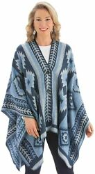 Collections Etc Womenand039s Aztec Poncho Sweater With Button Closure Blue Onesize