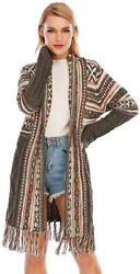 Cgyy Womenand039s Open Front Boho Tassel Cardigan Long Aztec Sweater With Geometric P