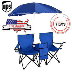 Foldable Double Chair Umbrella Table Outdoor Picnic Beach Camping Cooler Fishing