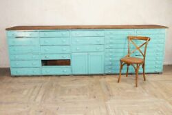 Vintage Industrial Bank Of Drawers / Bar Front