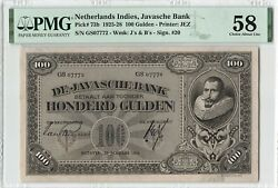 Netherlands Indies 100 Gulden 1928 Indonesia Pick 73b Pmg About Uncirculated 58