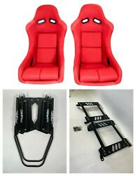 Pair 2 F1spec Type 5 Red Cloth Racing Bucket Seats Jdm For Civic 10th Gen