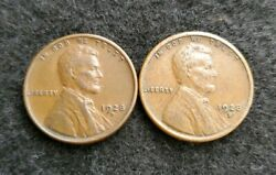 Nice Set Of Two Au 1928-d And S Lincoln Cents