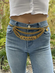 Rare Vintage Gold Quilted Logo Cut Out Plaque Triple Chain Belt Max30