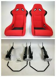 Pair 2 F1spec Type 3 Red Cloth Racing Bucket Seats Jdm For Civic Fg 06-11