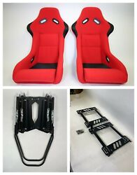 Pair 2 F1spec Type 3 Red Cloth Racing Bucket Seats Jdm For 240sx S13/s14