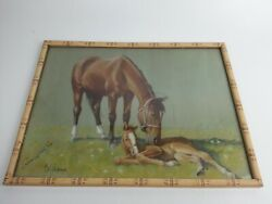 Vintage 1954 Cal Anderson New Arrival Horse Foal Indiana State Fair Print Frame