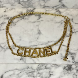 Rare 80s Vintage Gold Logo Letters And Chain Belt/choker- Max Length 34