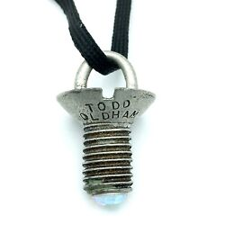 Todd Oldham Vintage Screw Pendant Necklace - 1994 Silver-tone Charm With Crystal