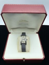Tank Americaine Ref 2490 Automatic 18k White Gold W/ Box 100 Auth