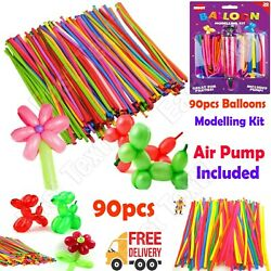 90 Pc Modelling Balloons Kit Set Pump Inflatable Craft Kids Party Latex Wedding