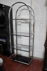 Milo Baughman For D.i.a. Chrome And Glass Shelving Unit 1970's Mid Century Modern