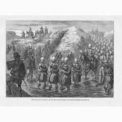 Zulu War The 21st Royal Scots Fusiliers On The March - Antique Print 1879