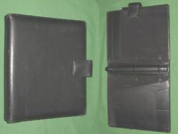 8.5x11 1.0 Black Leather Day Runner Planner Binder Franklin Covey Monarch