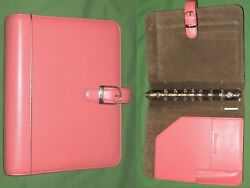 Desk 1.0 Pink Ribbon Leather Day Timer Planner Binder Classic Franklin Covey